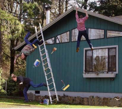 Falling off the roof in Neil Kelly story on handyman Don't Do It Yourself story