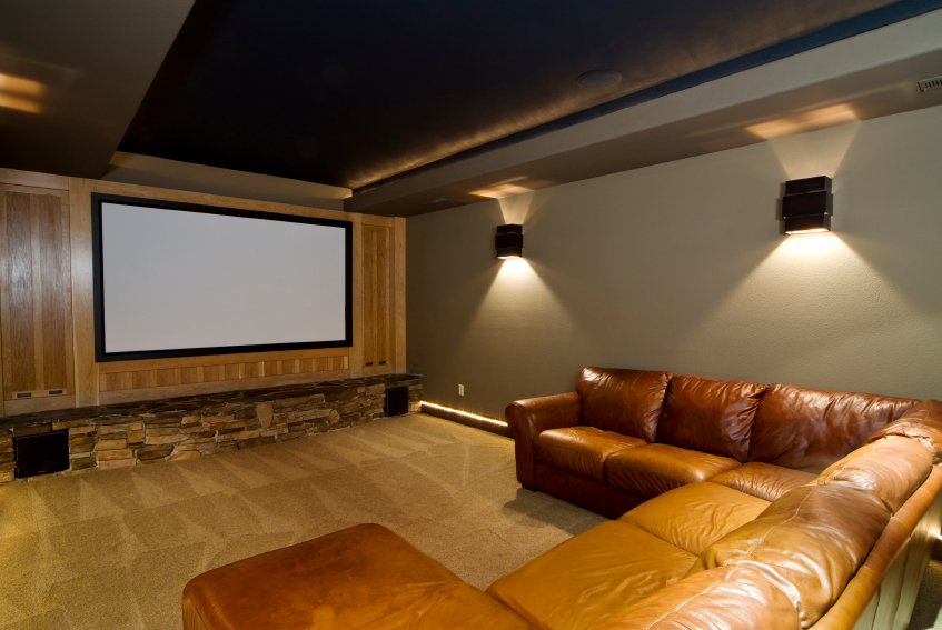 Flatscreen TV and stereo in man cave