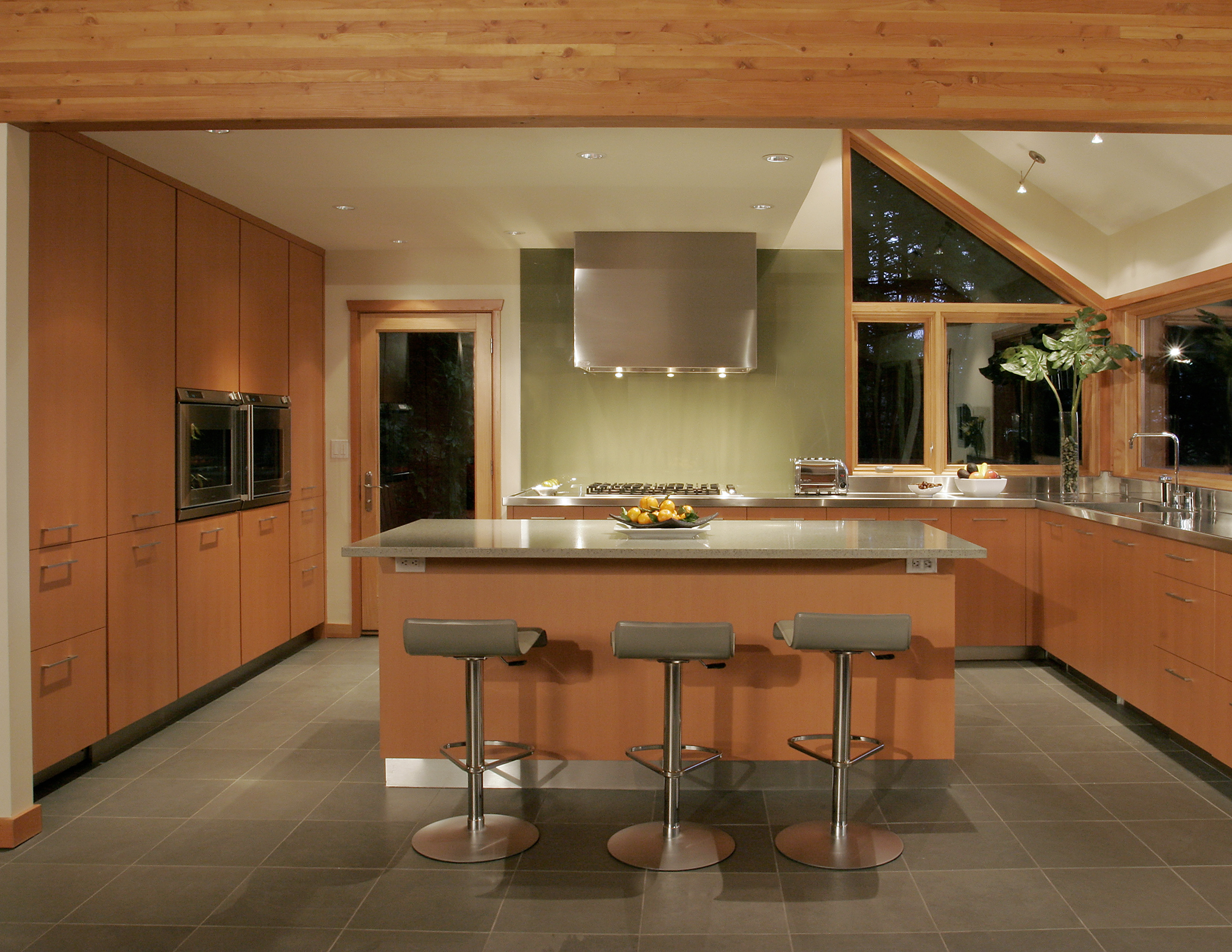 A newly remodeled kitchen with aspects of biophilic design inspired by nature