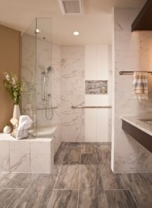 Walk-in shower, benches, grab bars