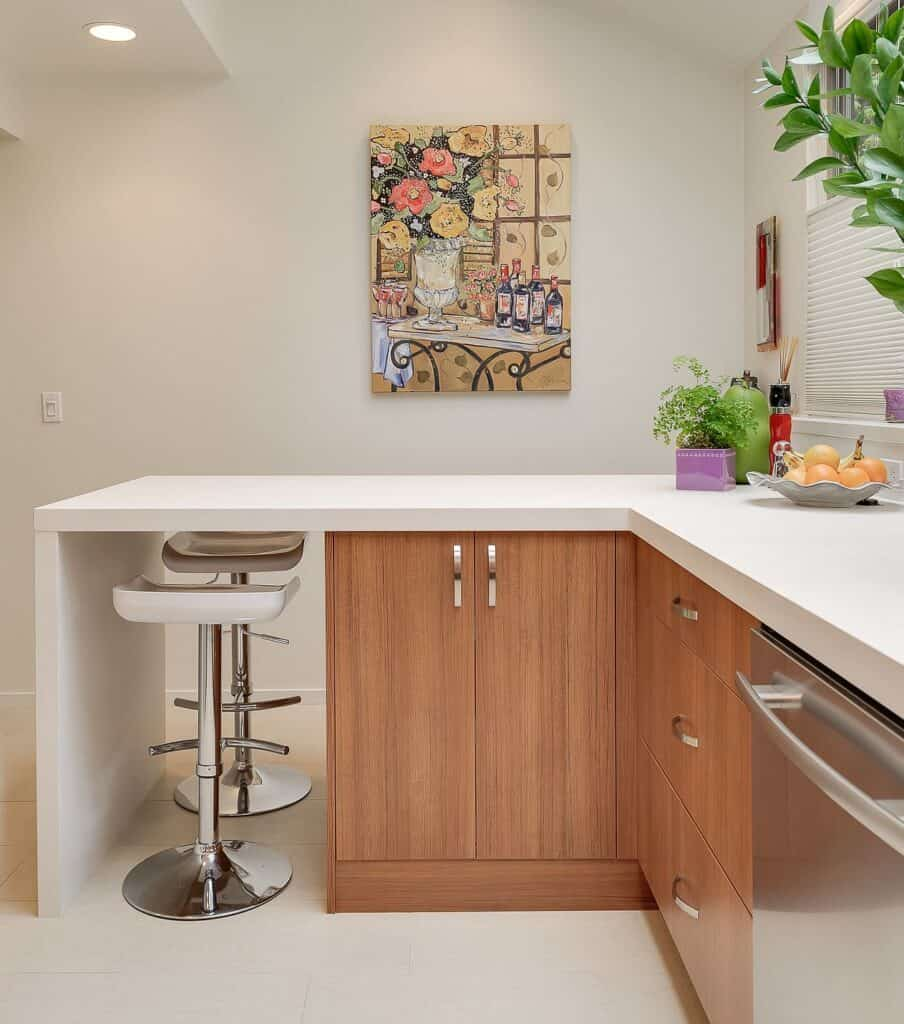 Countertop extension provides a tiny breakfast bar