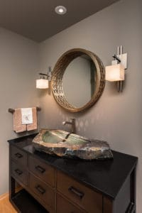 Basin made from natural stone