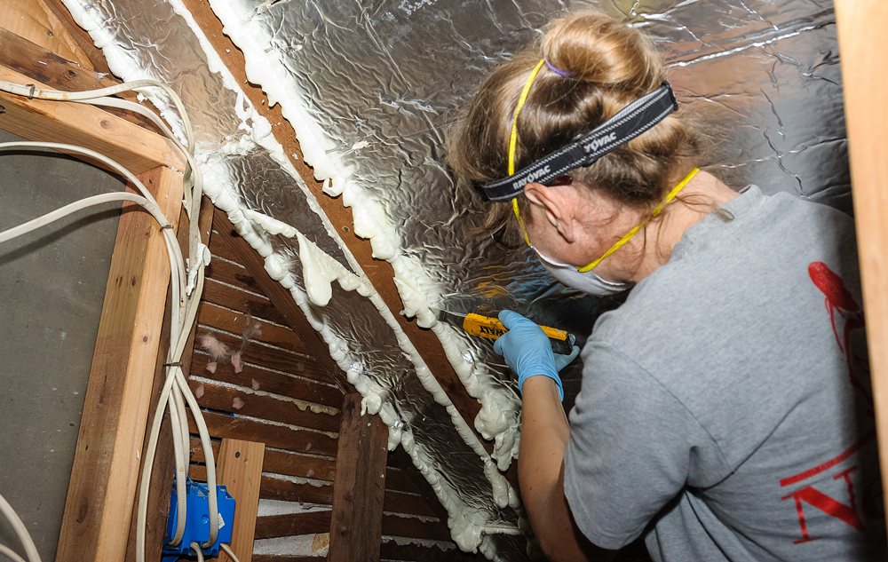 Person working in an attic