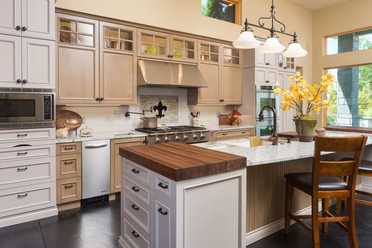 Countertops with different surfaces and different heights