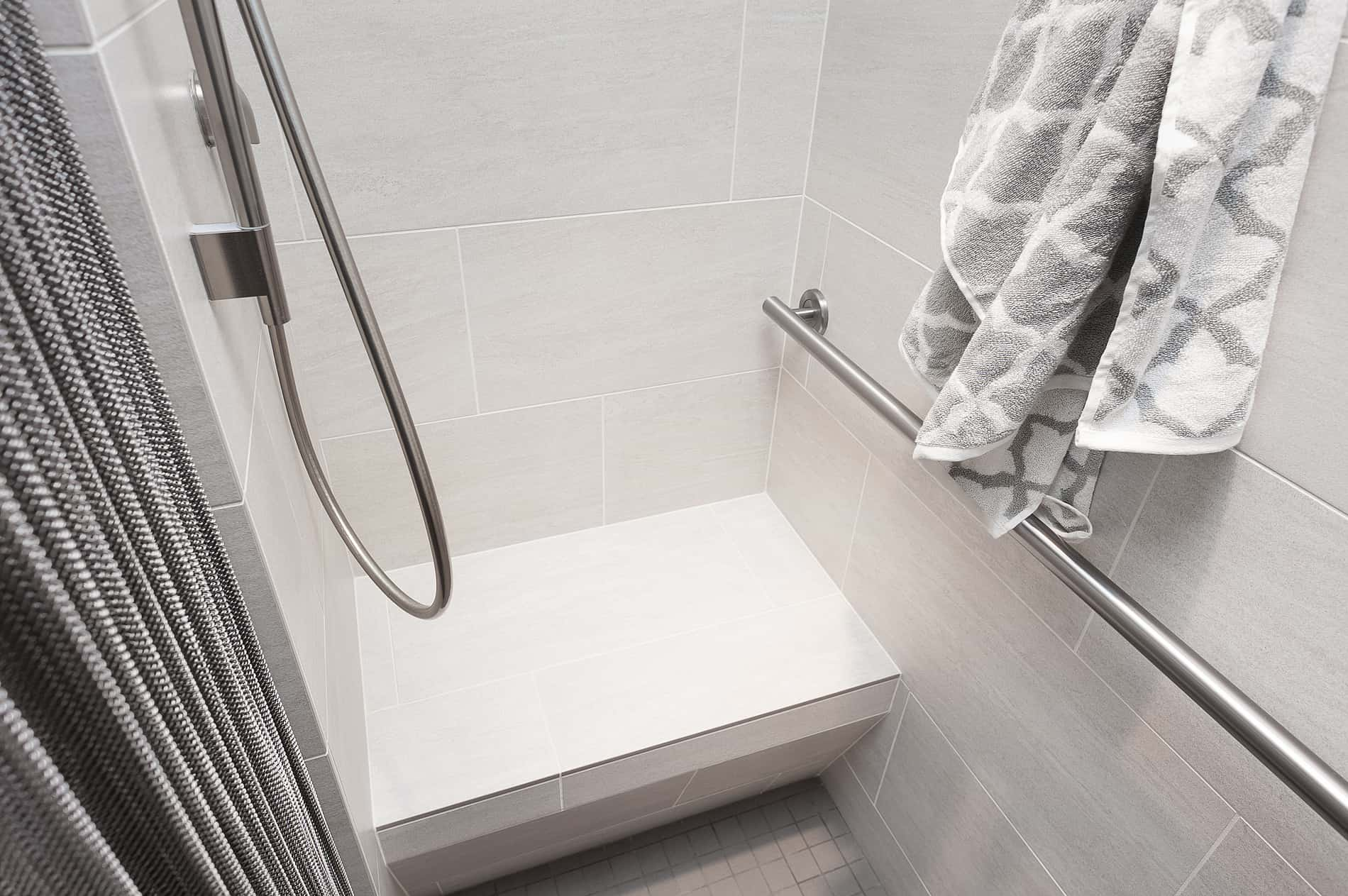 A modern shower completes another Neil Kelly remodeled bathroom