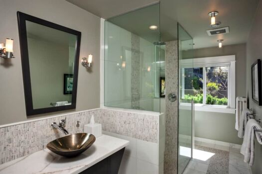 Large bathroom with standing glass shower and window