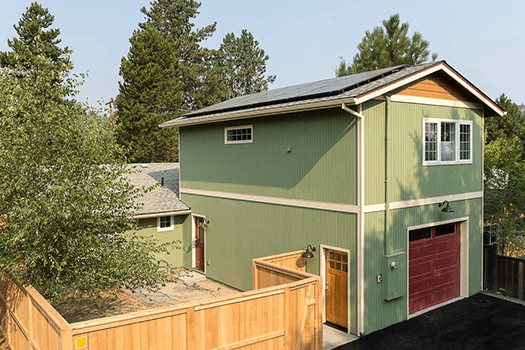 Converted garage with solar panels and private entrance
