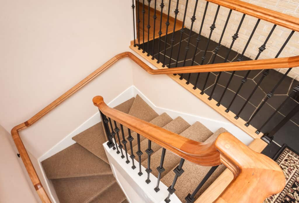 Professionally installed stair and railings.