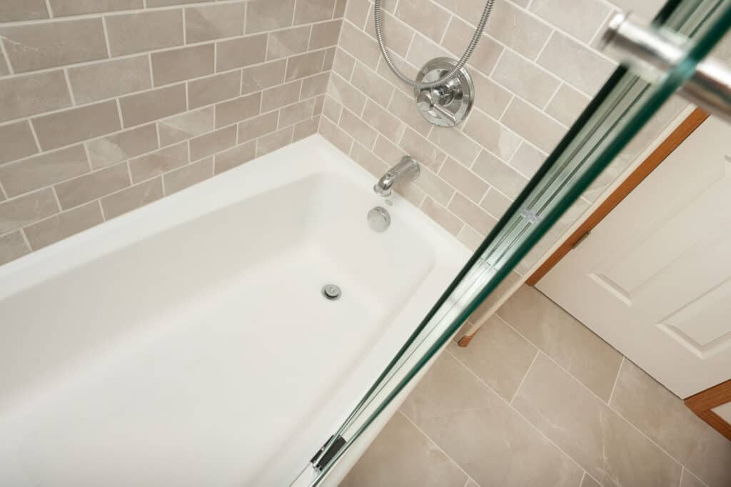New tub and tile in a bathroom