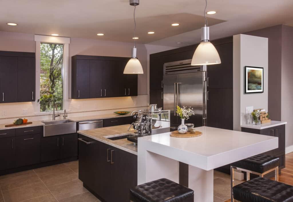 European inspired kitchen with an abundance of efficient storage.