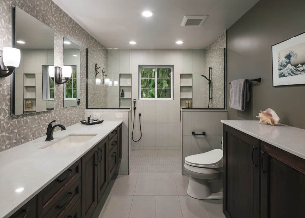 Warm earth toned bathroom with walk-in shower and rich accents.