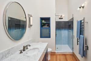 Does you home really need a bathtub? This condominium bathroom might be too small for a tub