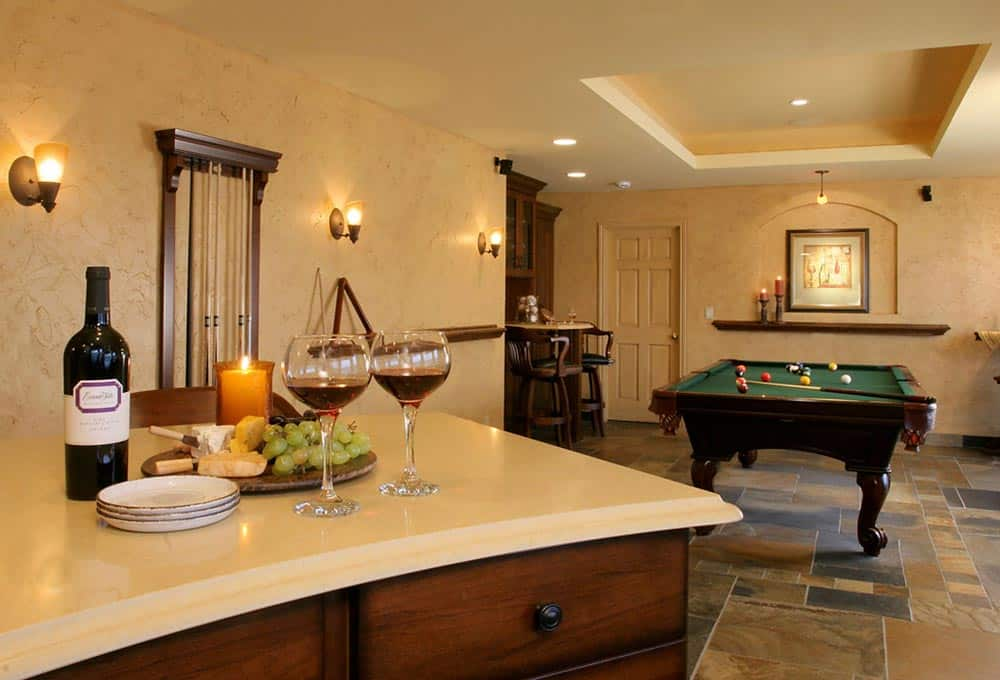 Entertainment space with pool table and wine bar
