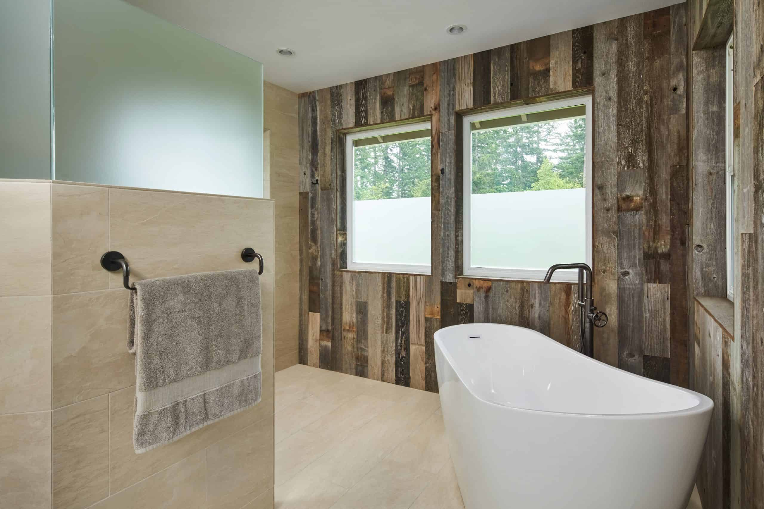 Bathroom remodel includes biophilic design with wood wall cladding
